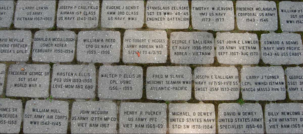 main Colonie Veterans Memorial bricks with Veterans names on them